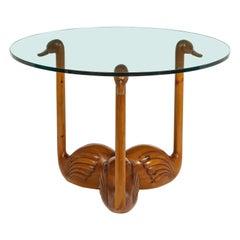 "Carved Solid Oak Studio ""Swan"" Table, France, 1960s"