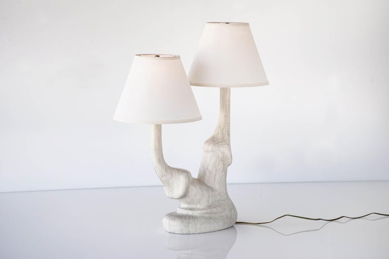 Carved solid white oak wood table lamp with double lamp shade inspired by mushrooms. 