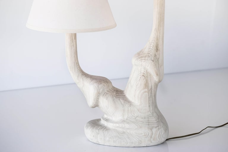 Carved Solid White Oak Wood Organic Table Lamp with Double Linen Lamp Shade In New Condition For Sale In Los Angeles, CA