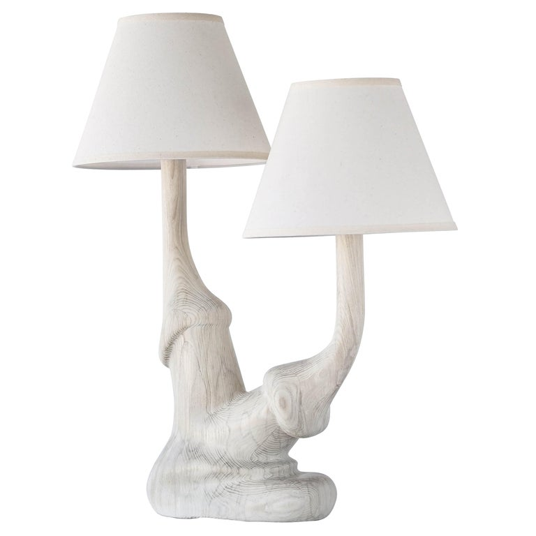 Carved Solid White Oak Wood Organic Table Lamp with Double Linen Lamp Shade For Sale