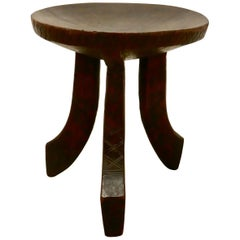 Carved Solid Wood African 3-Legged Stool
