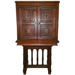 Carved Spanish Oak Writing Cabinet, Estate of Vincente Blasco Ibanez
