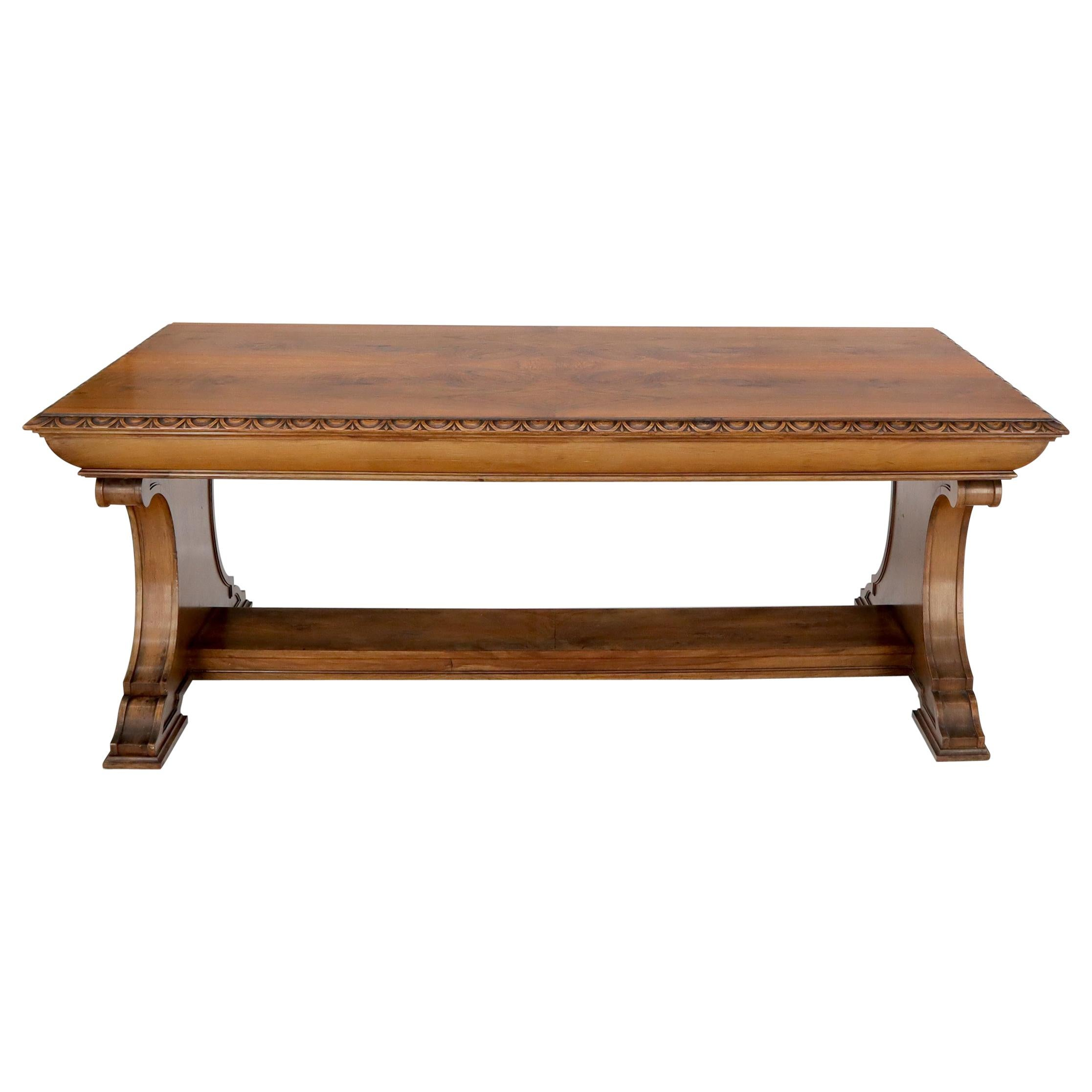 Carved Spanish or Italian Walnut Library Table Desk Heavy Carved Base