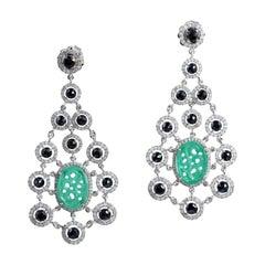 Carved Spinel Web Diamond Earrings
