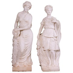 Carved Statuary Marble Female Figures of Classical Form