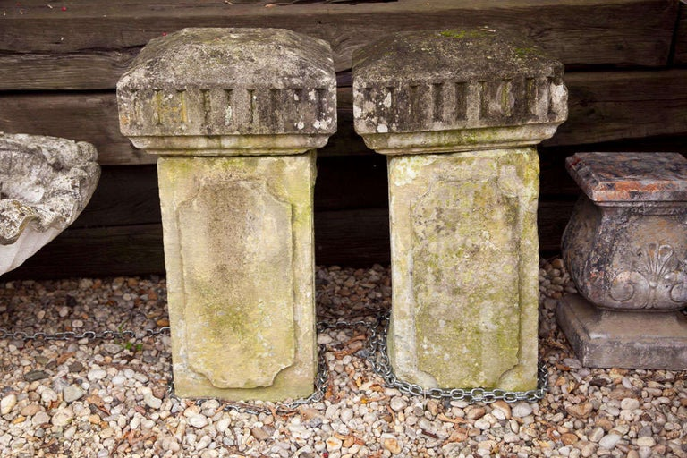 Carved stone columns.