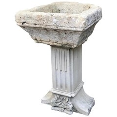Hand Carved Stone Container Basin on Pedestal Base Birdbath Sink Antiques focal