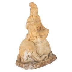 Carved Stone Kannon on Elephant