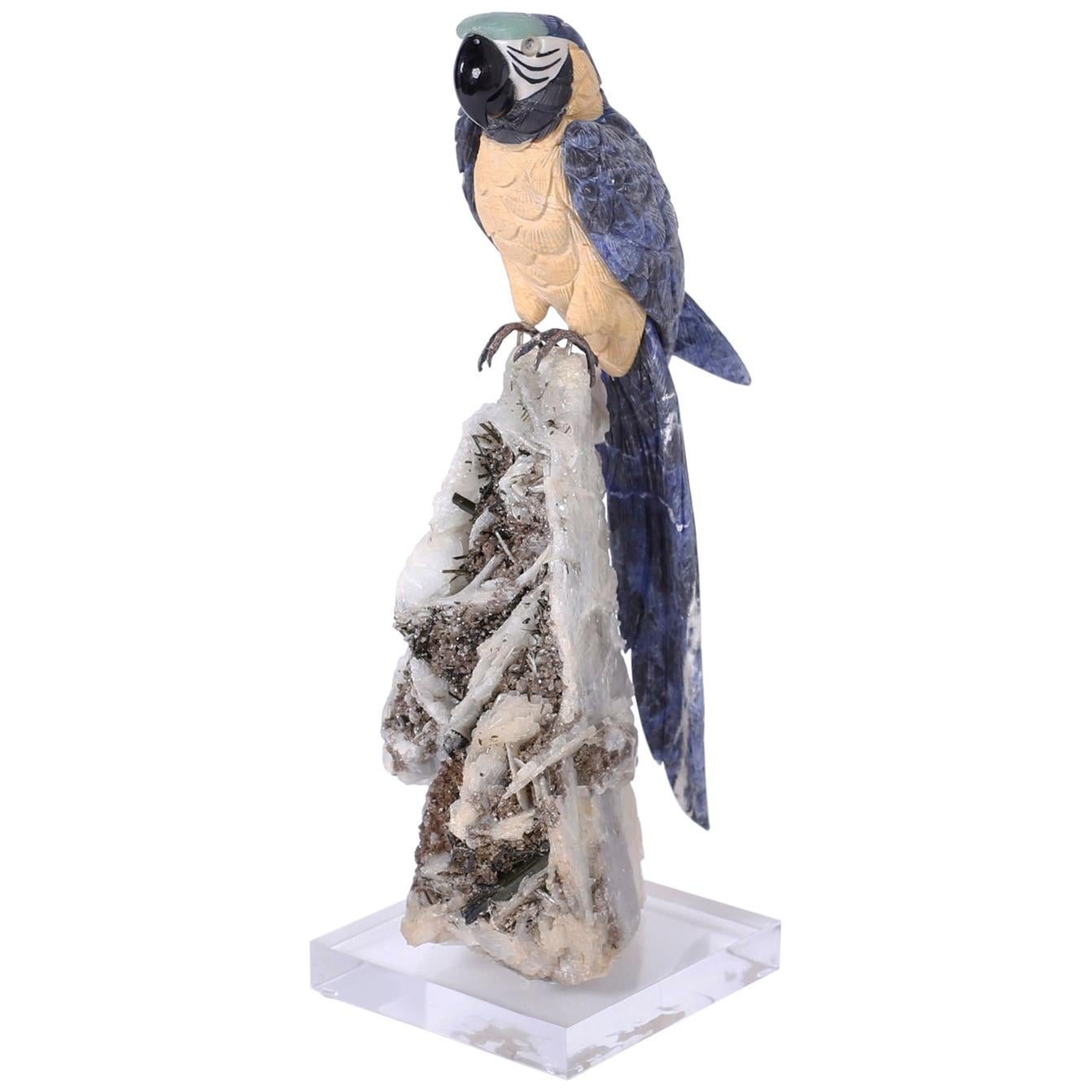 Carved Stone Parrot