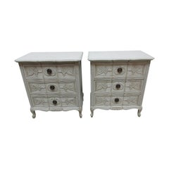 Carved Swedish Rococo Style Nightstands