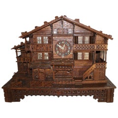 Carved Swiss Black Forest Chalet Clock, circa 1880