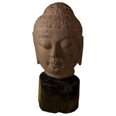 Carved Tang-Style Sculpture of Bodhisattva Head
