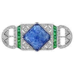 Carved Tanzanite Emerald Diamond 18 Karat White Gold Brooch