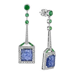 Carved Tanzanite Emerald Diamond Earrings