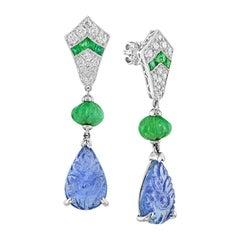 Carved Tanzanite Emerald Diamond Earrings