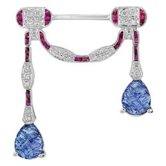Carved Tanzanite Ruby Diamond 18 Karat White Gold Brooch