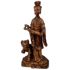 Carved Teak Chinese Female Figure with Removable Head Holding a Ruyi
