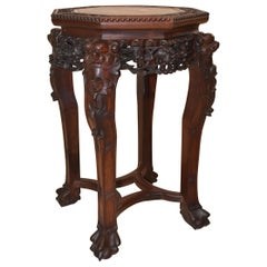 Carved Teak Wood Chinese and Soapstone Stand