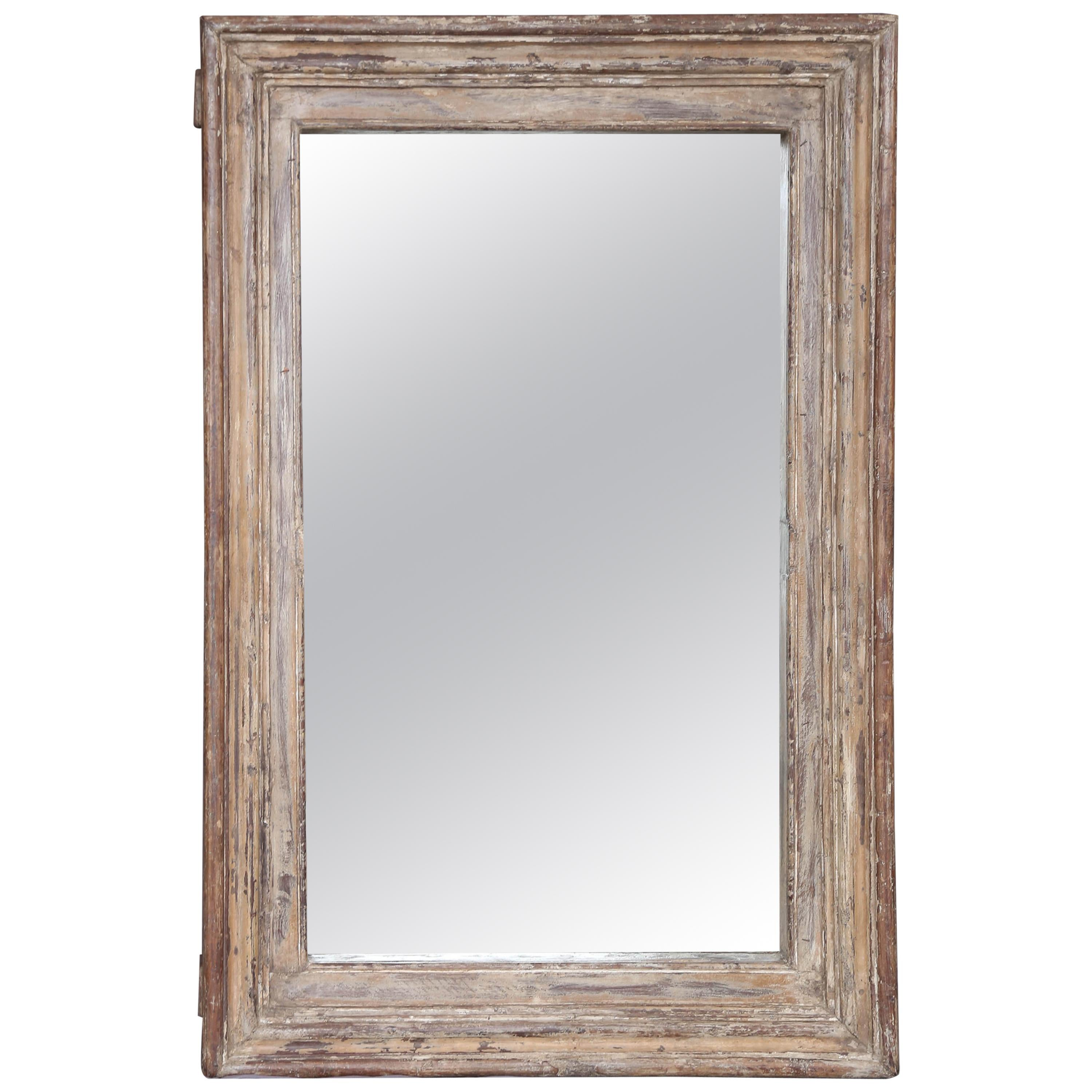 Carved Teak Wood Window Frame Of 1840s Home Used As Frame For This Mirror