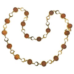 Carved Tiger's Eye Gold Long Necklace