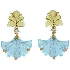 Carved Topaz Citrine 18 Karat Gold Flower Earrings