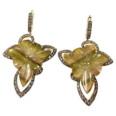 Carved Tourmaline with Brown Diamond Earrings in 18K Gold