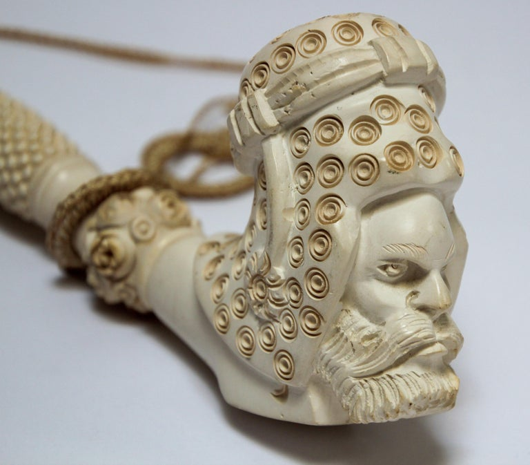 Carved Turkish Figural Meerschaum Moorish Pipe For Sale 6
