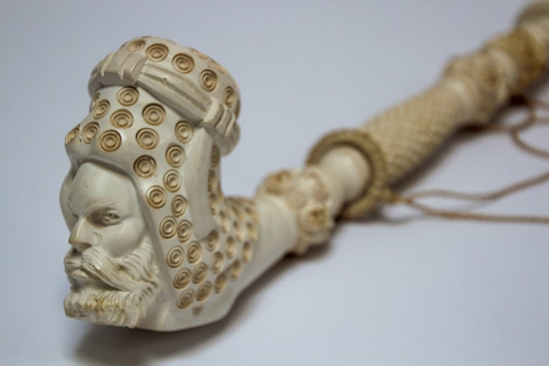 Carved Turkish Figural Meerschaum Moorish Pipe For Sale 7