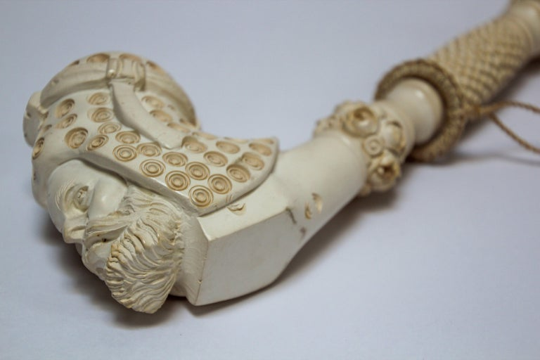 Carved Turkish Figural Meerschaum Moorish Pipe For Sale 8