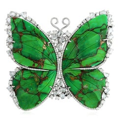 Carved Turquoise 18 Karat Gold Butterfly Diamond Brooch