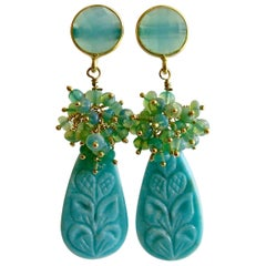 Carved Turquoise Aqua Blue Opal Cluster Earrings, Trisha Earrings