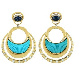 Carved Turquoise Diamond 18 Karat Gold Crescent Earrings