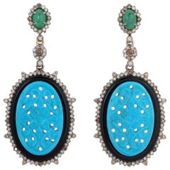 Carved Turquoise Emerald Black Onyx Diamond Earrings