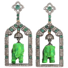 Carved Turquoise Emerald Diamond Elephant Earrings