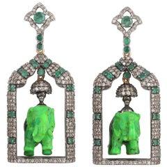 Carved Turquoise Emerald Diamond Elephant Earrings