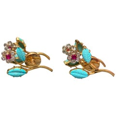 Carved Turquoise Floral Cufflinks