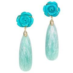 18 Karat Yellow Gold Carved Turquoise Flowers Amazonite Diamond Dangle Earrings