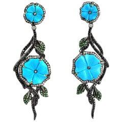 Carved Turquoise Tsavorite Diamond Earrings