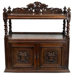 Carved Two-Tier English Shelf Cupboard