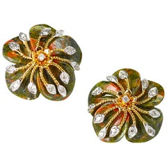 Carved Unakite Green and Orange Tone Earrings with Diamonds, 14 Karat Gold
