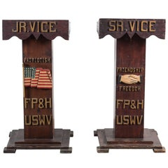 Carved USWV Lodge Pedestal Podiums Folk Art American Flag and Clasped Hands