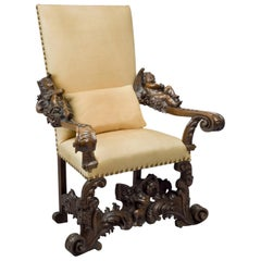 Carved Venetian Baroque Style Figural Walnut Throne Chair, circa 1890