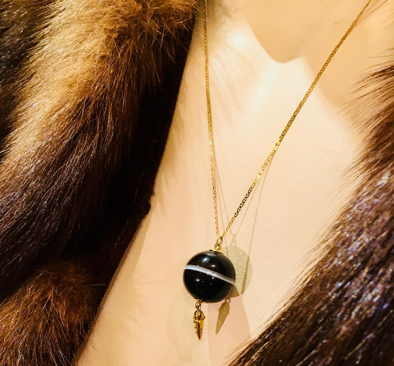 Round Cut Carved Victorian Banded Agate Sphere Pendant with Gold Medieval Flail and Chain For Sale