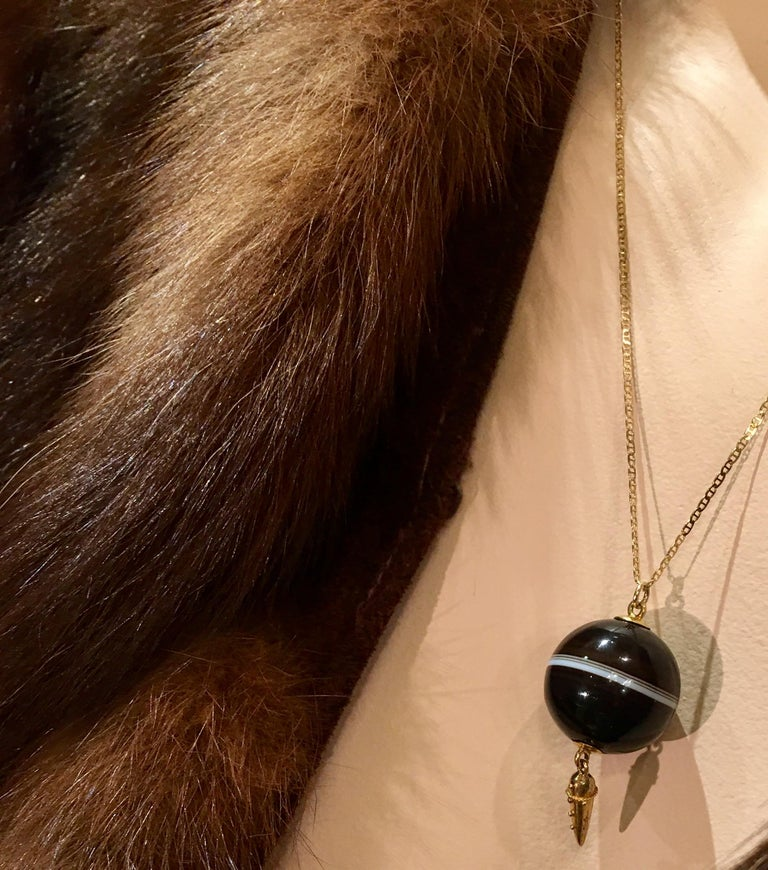 Carved Victorian Banded Agate Sphere Pendant with Gold Medieval Flail and Chain In Good Condition For Sale In Tustin, CA