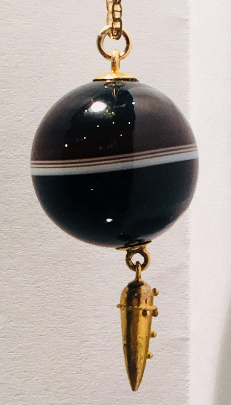 Carved Victorian Banded Agate Sphere Pendant with Gold Medieval Flail and Chain For Sale 2