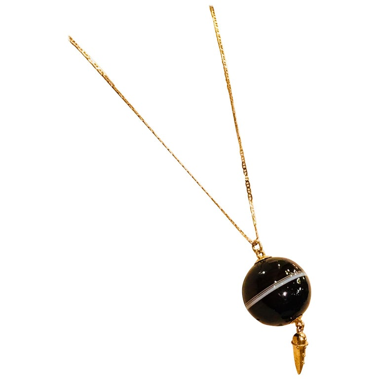 Carved Victorian Banded Agate Sphere Pendant with Gold Medieval Flail and Chain For Sale