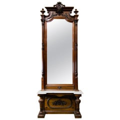 Carved Victorian English Walnut Pier Mirror