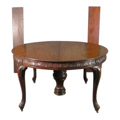 Carved Victorian Round Quarter Sawn Tiger Oak Dining Table, C1890