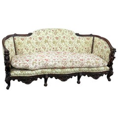 Ornate Carved Walnut Victorian Sofa Couch With Lion Figures C1920s