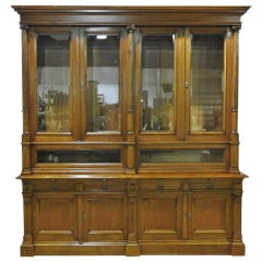 Carved Victorian Walnut Store Display Collectors Cabinet Breakfront, circa 1890s